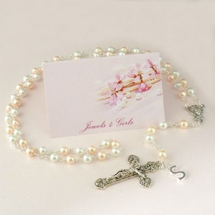 Pretty Pearl Rosary Beads with Letter Charm, Small Pearls